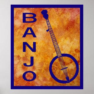 Banjo on Orange Posters