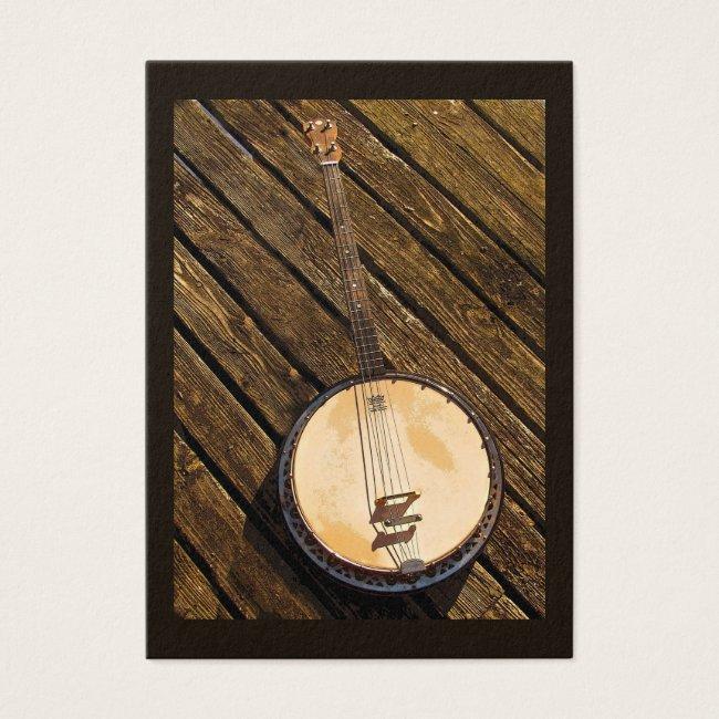 Banjo on Wood Music Instrument  ATC