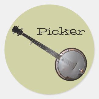 Banjo Picker Classic Round Sticker