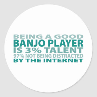 Banjo Player 3% Talent Round Sticker