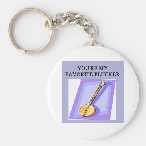 banjo player design basic round button keychain