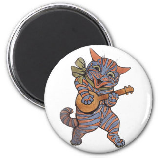 Banjo Playing Cat 2 Inch Round Magnet