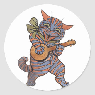 Banjo Playing Cat Classic Round Sticker