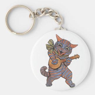 Banjo Playing Cat Keychain