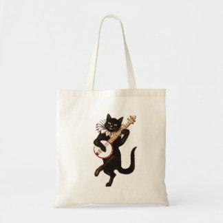 Banjo Playing Vintage Retro Black Cat Tote Bag