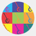 Banjo Pop Art Classic Round Sticker