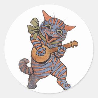 Banjo que juega el gato pegatina redonda