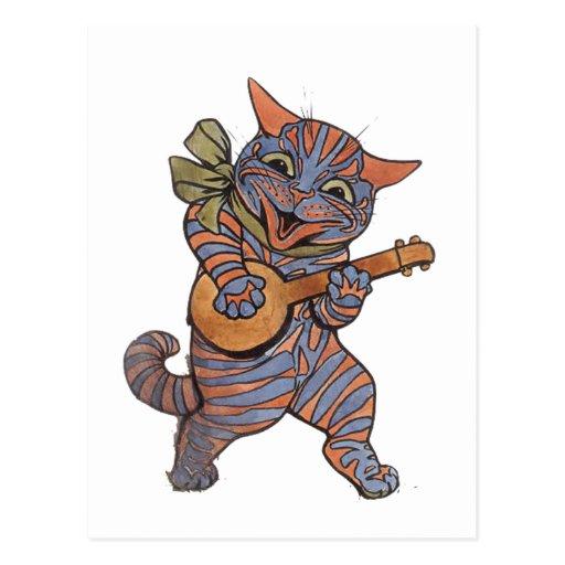 Banjo que juega el gato tarjeta postal