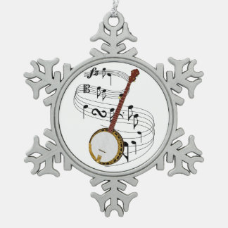 Banjo Snowflake Pewter Christmas Ornament