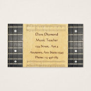 Banjo Strings Fretboard Sheet Music Business Cards at Zazzle