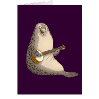 Banjo Strummin' Seal Card (Blank Inside)