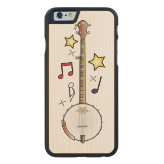 Banjo with Notes and Stars Carved® Maple iPhone 6 Case