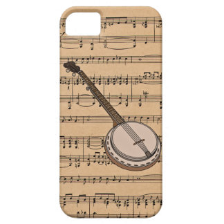 Banjo With Sheet Music Background iPhone SE/5/5s Case
