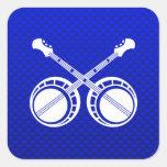 Banjos en duelo azules pegatinas cuadradas personalizadas