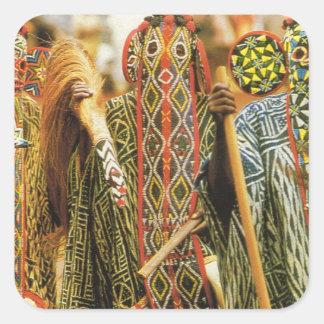 Banjouge Tribal  dancers, Cameroon Square Sticker