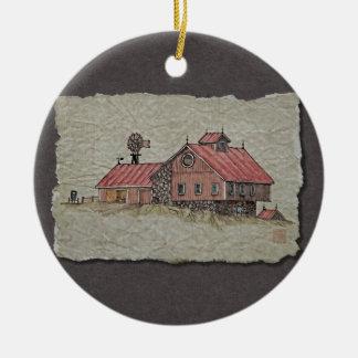 Bank Barn & Windmill Ceramic Ornament