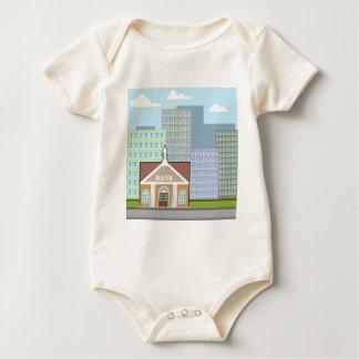Bank building city sky vector baby bodysuit