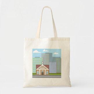 Bank building city sky vector tote bag