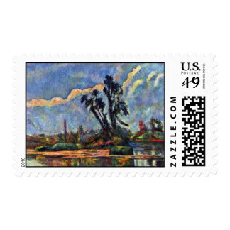 Bank Of The Oise By Paul Cézanne (Best Quality) Postage Stamps