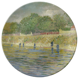 Bank of the Seine by Vincent Van Gogh Dinner Plate