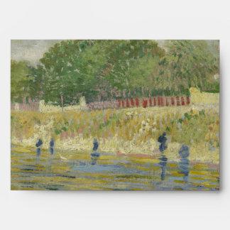 Bank of the Seine by Vincent Van Gogh Envelope