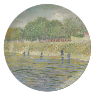 Bank of the Seine by Vincent Van Gogh Melamine Plate