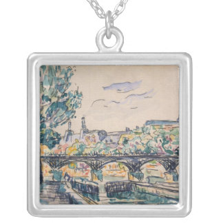 Bank of the Seine near the Pont des Arts Silver Plated Necklace