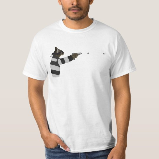 Bank Robber Cat Firing Bee Bee Gun T-Shirt