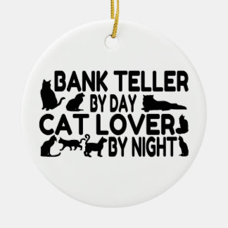 Bank Teller Cat Lover Ceramic Ornament