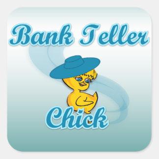 Bank Teller Chick #3 Square Sticker