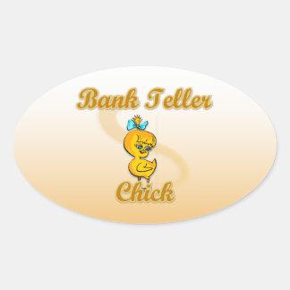 Bank Teller Chick Oval Sticker