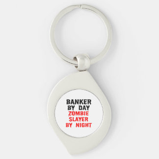 Banker by Day Zombie Slayer by Night Silver-Colored Swirl Metal Keychain