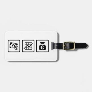 Banker finance symbols luggage tag