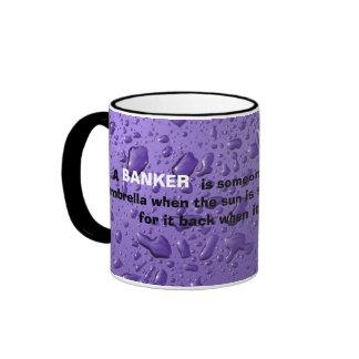 BANKER - Funny quote mug w purple raindrop graphic