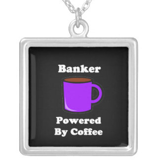 """Banker"" Powered by Coffee Silver Plated Necklace"