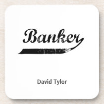 Banker typography coaster