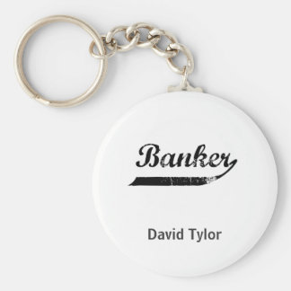 Banker typography keychain