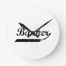 Banker typography round clock