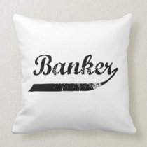 Banker typography throw pillow