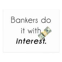 Bankers do it! postcard