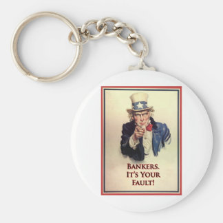 Bankers Uncle Sam Poster Basic Round Button Keychain