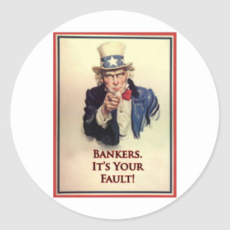 Bankers Uncle Sam Poster Classic Round Sticker