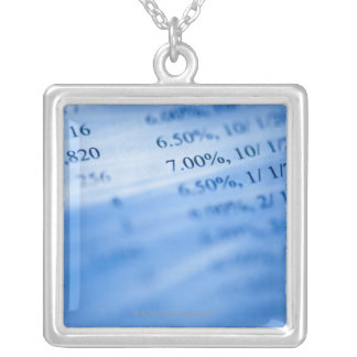 Banking charts square pendant necklace