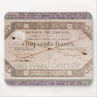 Banknote for 500 francs from the 24th Germinal Mouse Pad