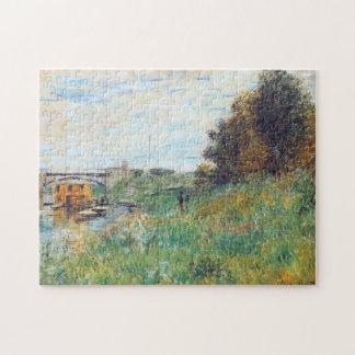 Banks of Seine at Argenteuil Bridge Monet Fine Art Jigsaw Puzzle