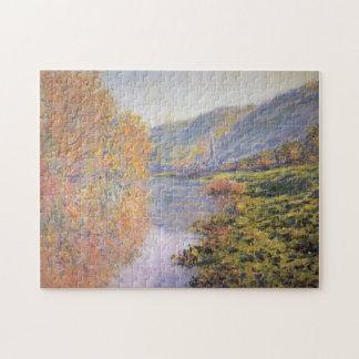 Banks of Seine at Jeufosse Autumn Monet Fine Art Jigsaw Puzzle