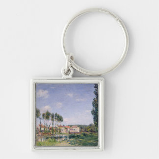 Banks of the Loing, Moret, 1892 Silver-Colored Square Keychain