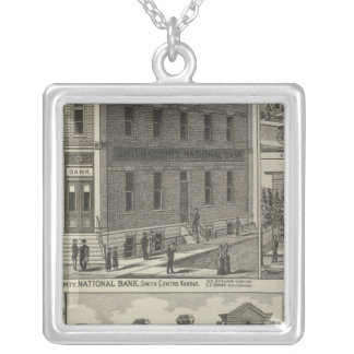 Banks, Residence, Hull House, Smith Centre, Kansas Silver Plated Necklace
