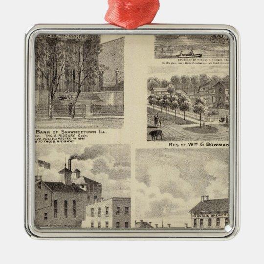 Banks, residences and breweries in Shawneetown Metal Ornament