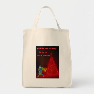 Bankster stole Christmas Grocery Tote Bag